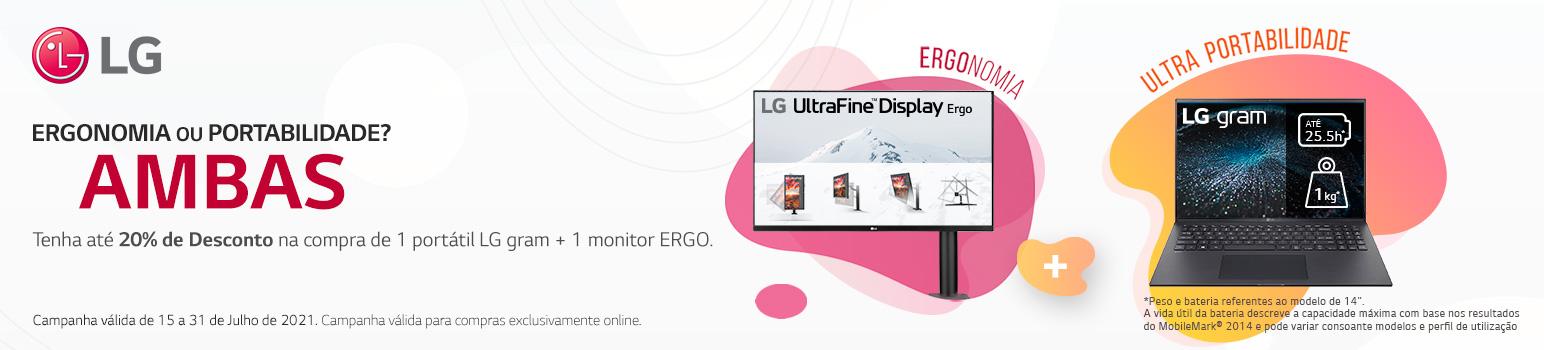 Até 20% Desconto na compra de Portátil LG gram + Monitor ERGO
