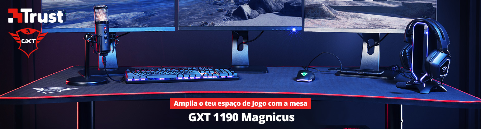 Secretária Gaming Trust GXT 1190 Magnicus Gaming Desk com Wireless Charging