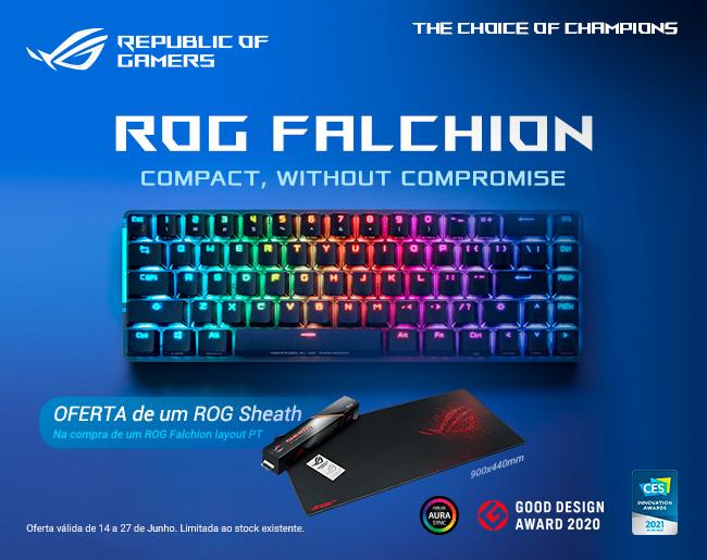 Compra um Asus ROG Falchion 65% RGB Wireless Cherry MX RED PT e recebe um Tapete de Oferta