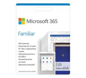 Cartão Microsoft 365 Family (Familiar), Subscrição 12 Meses, 6 Pessoas
