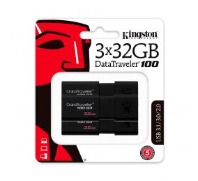 Pen Drive Kingston DataTraveler 100 G3 32GB USB 3.0 Preta (Pack 3)