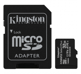 Cartão Memória Kingston Canvas Select Plus C10 A1 UHS-I microSDHC 32GB + Adaptador SD