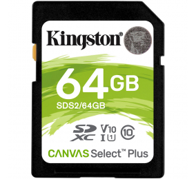 Cartão Memória Kingston Canvas Select Plus C10 U3 V30 UHS-I SDXC 64GB