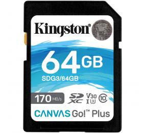Cartão Memória Kingston Canvas Go! Plus C10 UHS-I U3 V30 SDXC 64GB