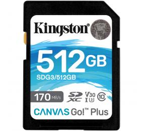 Cartão Memória Kingston Canvas Go! Plus C10 UHS-I U3 V30 SDXC 512GB
