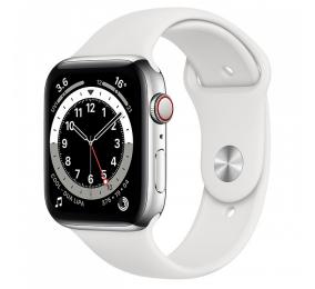 Apple Watch Series 6 GPS+Cellular 44mm Aço Prateado c/ Bracelete Desportiva Branca