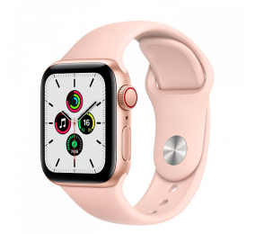 Apple Watch SE GPS+Cellular 40mm Alumínio Dourado c/ Bracelete Desportiva Rosa-Areia