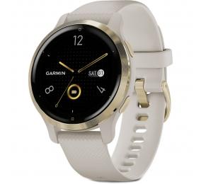 Smartwatch Garmin Venu 2S Aço Inoxidável Dourado Claro com Caixa Cor de Areia e Bracelete Silicone