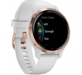 Smartwatch Garmin Venu 2S Aço Inoxidável Rosa Dourado com Caixa Branca e Bracelete Silicone