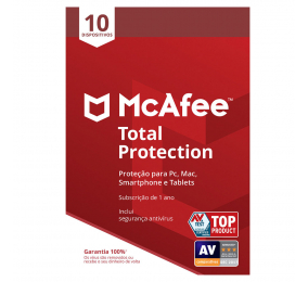 Software McAfee Total Protection 10 Dispositivos 1 Ano