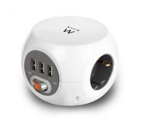 Régua Ewent EW3939 Cube Power 3 Tomadas Schuko + 3 USB 2.4A Branco