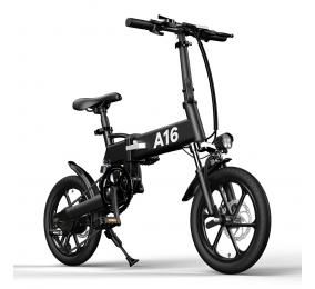 Bicicleta Elétrica ADO A16 Cross-Country Folding EBike Preta