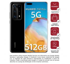 """Smartphone Huawei P40 Pro+ 5G 6.58"""" 8GB/512GB Dual SIM Preto"""