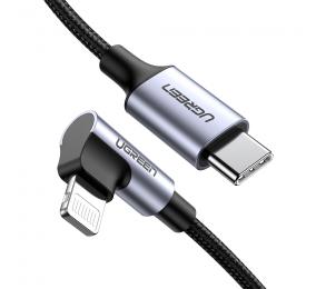 Cabo UGREEN US305 USB-C para Lightning Angled 1.5m Trançado Preto