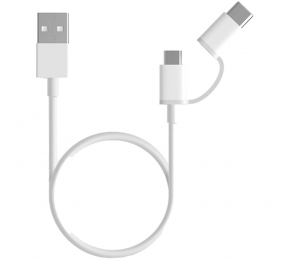 Cabo Xiaomi Mi Charging 2 em 1 Micro USB para Type-C 30cm Branco
