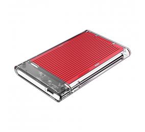 """Caixa Externa 2.5"""" Orico 2179C3 SATA I/II/III para USB 3.1 Type-C Transparente/Vermelha"""