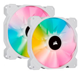 Ventoinha 140mm Corsair 1200RPM SP140 RGB ELITE White 4 Pinos PWM (Twin Pack c/ Lighting Node CORE)