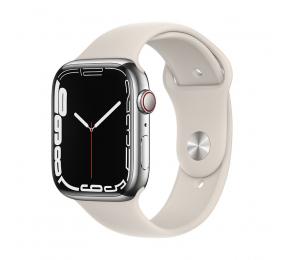 Apple Watch Series 7 GPS+Cellular 45mm Aço Inoxidável Prateado c/ Bracelete Desportiva Luz das estrelas