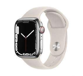 Apple Watch Series 7 GPS+Cellular 41mm Aço Inoxidável Prateado c/ Bracelete Desportiva Luz das estrelas