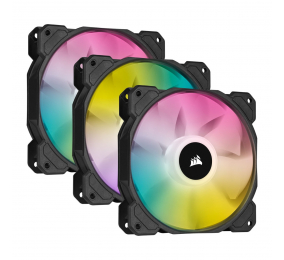 Ventoinha 120mm Corsair 1500RPM SP120 RGB ELITE 4 Pinos PWM (Triple Pack c/ Lighting Node CORE)