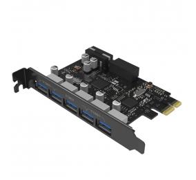 Placa de Expansão Orico PVU3-5O2I-V1 USB3.0 5-Port PCI-E com Dual Chip Preta