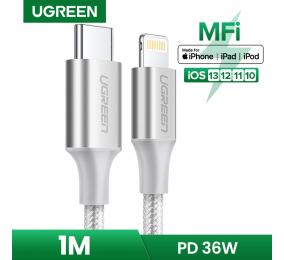 Cabo UGREEN US304 USB-C para Lightning Fast-Charging 1m Trançado Cinzento