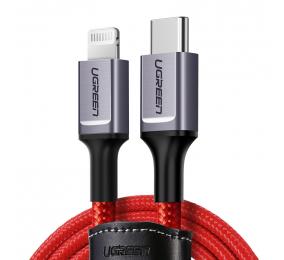 Cabo UGREEN US298 USB-C para Lightning 1m Trançado Vermelho