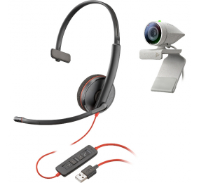 Kit Webcam Poly Studio P5 com Headset Blackwire 3210