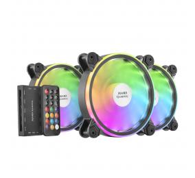 Ventoinha 120mm Mars Gaming 1100RPM MFXKIT RGB 6 Pinos Preta c/ Controlador (Pack 3)