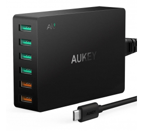 Carregador AUKEY PA-T11 60W 3-Port USB Qualcomm Quick Charge 3.0 Preto