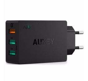Carregador AUKEY PA-T14 42W 3-Port USB Qualcomm Quick Charge 3.0 Preto