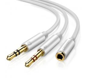 Cabo Audio Splitter UGREEN AV140 1x3.5mm Fêmea para 2xMacho Alumínio Branco