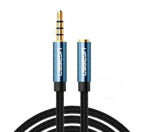 Cabo Extensão Audio UGREEN AV118 1x3.5mm Macho para 1x3.5mm Fêmea Trançado 2m Preto/Azul