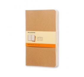 Caderno Cahier de Bolso Pautado Moleskine Kraft - Conjunto de 3 Cadernos