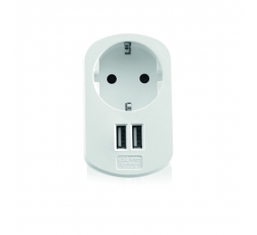 Carregador Ewent EW1211 USB AC 2 Portas 15.5W 3.1A Shuko Branco