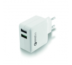 Carregador Ewent EW1233 2 Portas USB 4A Quick Charge 3.0 Branco