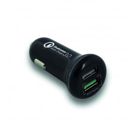 Carregador de Isqueiro Ewent EW1352 USB DC 2 Portas 5A 25W Quick Charge 3.0 Qualcomm Preto