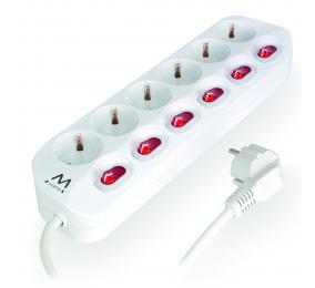 Régua Ewent EW3933 Power Strip 6 Tomadas Schuko 16A com Switch on/off Branca