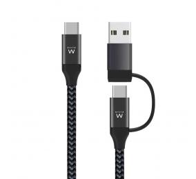 Cabo de Carregamento Ewent EW9918 USB-C 2 em 1