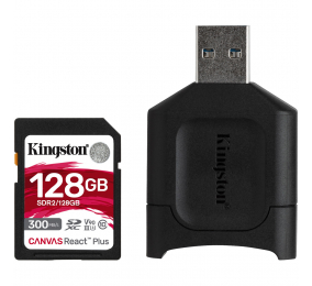 Cartão Memória Kingston Canvas React Plus C10 UHS-II U3 V90 SDXC 128GB + Adaptador USB
