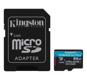 Cartão Memória Kingston Canvas Go! Plus C10 UHS-I U3 V30 A2 microSDXC 64GB + Adaptador SD