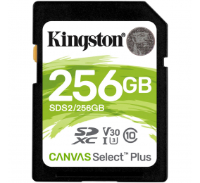 Cartão Memória Kingston Canvas Select Plus C10 U3 V30 UHS-I SDXC 256GB