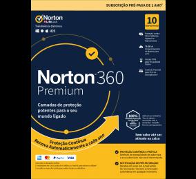 Norton 360 Premium Cloud 75GB, 1 Utilizador, 10 Dispositivos, 1 Ano