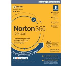 Norton 360 Deluxe Cloud 50GB, 1 Utilizador, 5 Dispositivos, 1 Ano