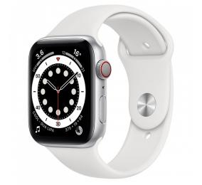 Apple Watch Series 6 GPS+Cellular 44mm Alumínio Prateado c/ Bracelete Desportiva Branca