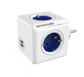 Régua Allocacoc PowerCube 4 Tomadas + 2 USB 16A Azul