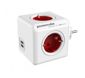 Régua Allocacoc PowerCube 4 Tomadas + 2 USB 16A Vermelho