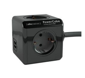 Régua Allocacoc PowerCube Extended 4 Tomadas +  2 USB 3m Preta Edição Limitada