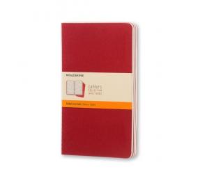 Caderno Cahier de Bolso Pautado Moleskine Vermelho - Conjunto de 3 Cadernos