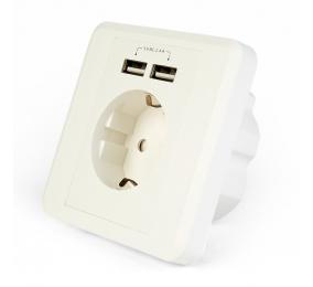 Tomada AC Socket Gembird c/ 2 Portas USB 2.4A